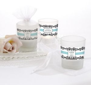 PERSONALIZED Wedding Glass Votive Candle Holders (Printed Label)