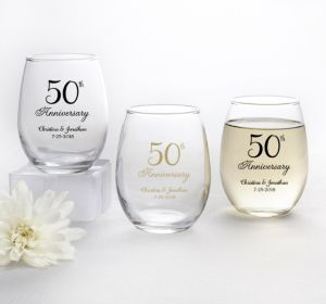 PERSONALIZED Wedding Stemless Wine Glasses 9oz (Printed Glass) (Gold, 50th Anniversary)