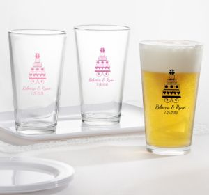 PERSONALIZED Wedding Pint Glasses (Printed Glass) (Bright Pink, Sweet Wedding Cake)