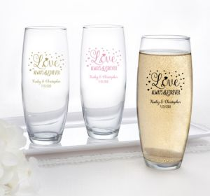 PERSONALIZED Wedding Stemless Champagne Flutes (Printed Glass) (Gold, Sparkling Pink Wedding)