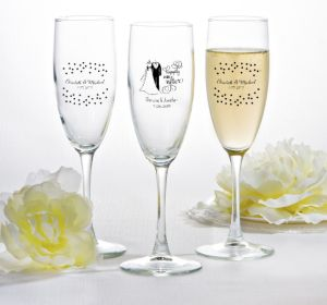 PERSONALIZED Wedding Champagne Flutes (Printed Glass) (White, Happily Ever AFter)
