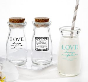 PERSONALIZED Wedding Glass Milk Bottles with Corks (Printed Glass) (Robin's Egg Blue, Always & Forever Phrase)