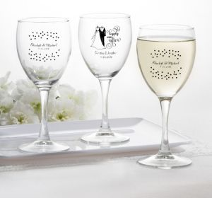 PERSONALIZED Wedding Wine Glasses (Printed Glass) (Black, Happily Ever After)