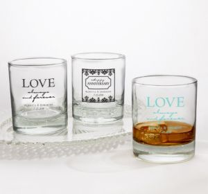 PERSONALIZED Wedding Rocks Glasses (Printed Glass) (White, Always & Forever Damask)