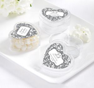 PERSONALIZED Wedding Heart-Shaped Plastic Favor Boxes (Printed Label) (Silver Elegant Scroll)