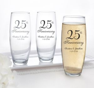 PERSONALIZED Wedding Stemless Champagne Flutes (Printed Glass) (Silver, 25th Anniversary)
