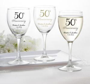 PERSONALIZED Wedding Wine Glasses (Printed Glass) (50th Anniversary Elegant Scroll)