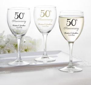 PERSONALIZED Wedding Wine Glasses (Printed Glass) (50th Anniversary Elegant Scroll)