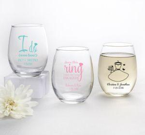 PERSONALIZED Wedding Stemless Wine Glasses 9oz (Printed Glass) (Black, I Do Woo Hoo)