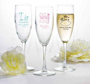 PERSONALIZED Wedding Champagne Flutes (Printed Glass) (White, Blushing Bride Dress)