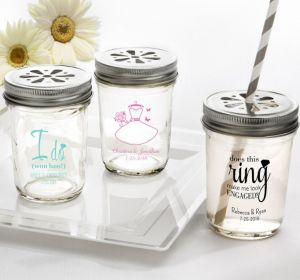 PERSONALIZED Wedding Mason Jars with Daisy Lids (Printed Glass) (Pink, Ring Engaged)