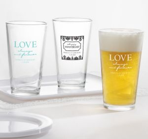 PERSONALIZED Wedding Pint Glasses (Printed Glass) (Robin's Egg Blue, Always & Forever Damask)