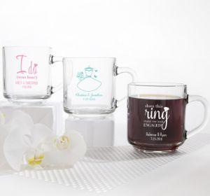 PERSONALIZED Wedding Glass Coffee Mugs (Printed Glass) (Robin's Egg Blue, Blushing Bride Dress)