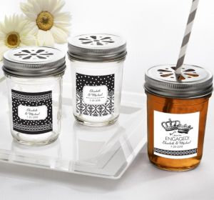 PERSONALIZED Wedding Mason Jars with Daisy Lids (Printed Label) (Damask & Dots Engagement)