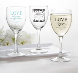 PERSONALIZED Wedding Wine Glasses (Printed Glass) (White, Always & Forever Anniversary)