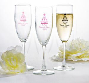 PERSONALIZED Wedding Champagne Flutes (Printed Glass) (Bright Pink, Sweet Wedding Cake)