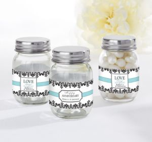 PERSONALIZED Wedding Mini Glass Mason Jars (Printed Label) (Always & Forever Anniversary)