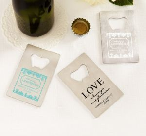 PERSONALIZED Wedding Credit Card Bottle Openers - Silver (Printed Metal) (White, Happily Ever After)