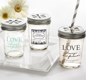 PERSONALIZED Wedding Mason Jars with Daisy Lids (Printed Glass) (Black, Always & Forever Damask)