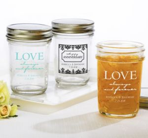 PERSONALIZED Wedding Mason Jars with Solid Lids (Printed Glass) (Robin's Egg Blue, Always & Forever Damask)