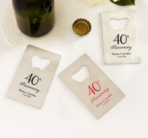 PERSONALIZED Wedding Credit Card Bottle Openers - Silver (Printed Metal) (40th Anniversary Elegant Scroll)