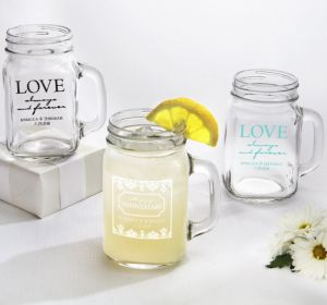 PERSONALIZED Wedding Mason Jar Mugs (Printed Glass) (Robin's Egg Blue, Always & Forever Phrase)
