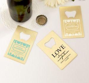 PERSONALIZED Wedding Credit Card Bottle Openers - Gold (Printed Metal) (White, Always & Forever Anniversary)