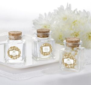 PERSONALIZED Wedding Small Glass Bottles with Corks (Printed Label) (Gold Elegant Scroll)