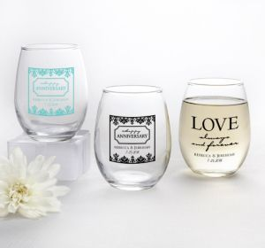 PERSONALIZED Wedding Stemless Wine Glasses 9oz (Printed Glass) (Black, Always & Forever Love)