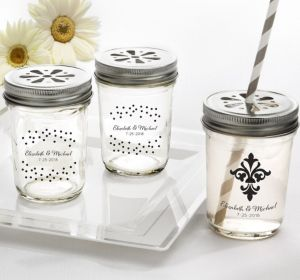 PERSONALIZED Wedding Mason Jars with Daisy Lids (Printed Glass) (Black, Damask & Dots Engagment)
