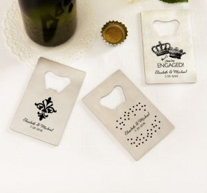 PERSONALIZED Wedding Credit Card Bottle Openers - Silver (Printed Metal) (Black, Damask & Dots Engagement)
