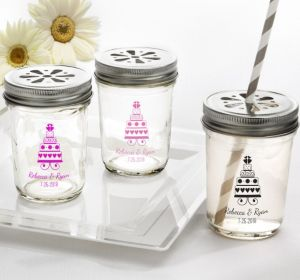 PERSONALIZED Wedding Mason Jars with Daisy Lids (Printed Glass) (Bright Pink, Sweet Wedding Cake)