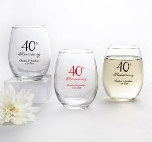 PERSONALIZED Wedding Stemless Wine Glasses 9oz (Printed Glass) (40th Anniversary Elegant Scroll)