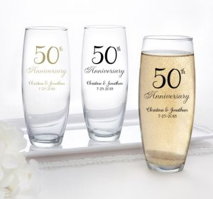 PERSONALIZED Wedding Stemless Champagne Flutes (Printed Glass) (50th Anniversary Elegant Scroll)