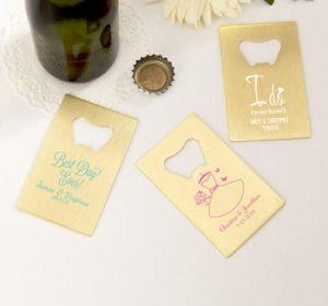 PERSONALIZED Wedding Credit Card Bottle Openers - Gold (Printed Metal) (Robin's Egg Blue, Blushing Bride Dress)