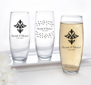 PERSONALIZED Wedding Stemless Champagne Flutes (Printed Glass) (White, Damask & Dots Engagment)