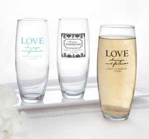 PERSONALIZED Wedding Stemless Champagne Flutes (Printed Glass) (Robin's Egg Blue, Always & Forever Love)