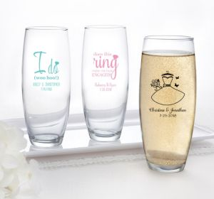 PERSONALIZED Wedding Stemless Champagne Flutes (Printed Glass) (Robin's Egg Blue, Blushing Bride Dress)