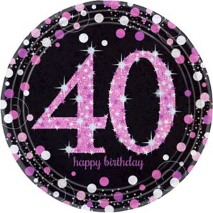 Prismatic 40th Birthday Lunch Plates 8ct - Pink Sparkling Celebration