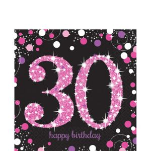 30th Birthday Lunch Napkins 16ct - Pink Sparkling Celebration