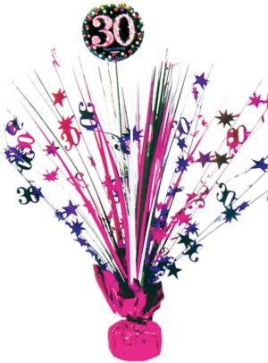 Prismatic 30th Birthday Spray Centerpiece - Pink Sparkling Celebration