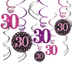 30th Birthday Swirl Decorations 12ct - Pink Sparkling Celebration