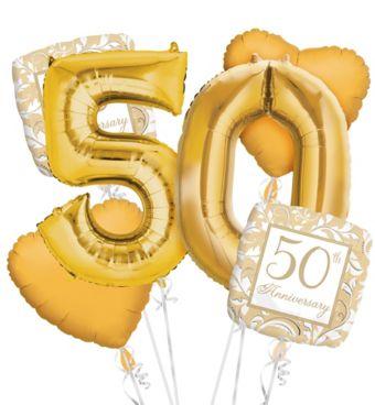 50th Anniversary Balloon Bouquet 6pc