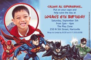 Custom Justice League Photo Invitation