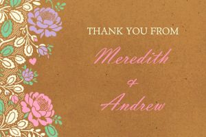 Custom Rustic Floral Wedding Thank You Note