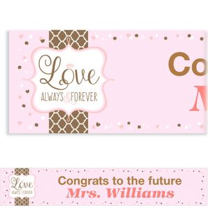 Custom Pink & Brown Wedding Banner