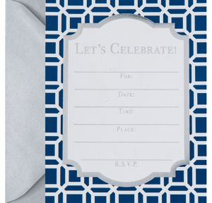 Metallic Blue Geometric Invitations 8ct