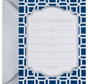 Metallic Blue Geometric Invitations 8ct