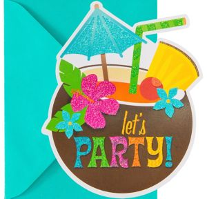 Glitter Coconut Cup Luau Invitations 8ct