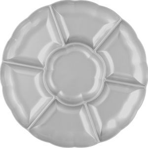 Silver Plastic Scalloped Sectional Platter